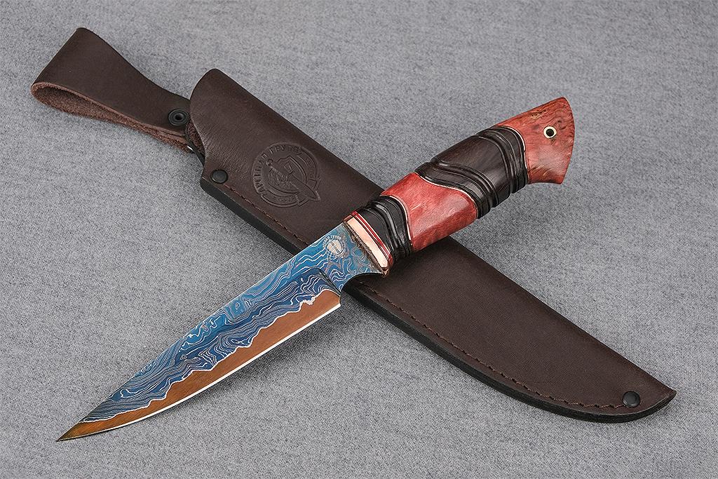 """Нож """"Каратель"""" (Ламинированная сталь, стабилизированная карельская береза, граб, резьба)"""