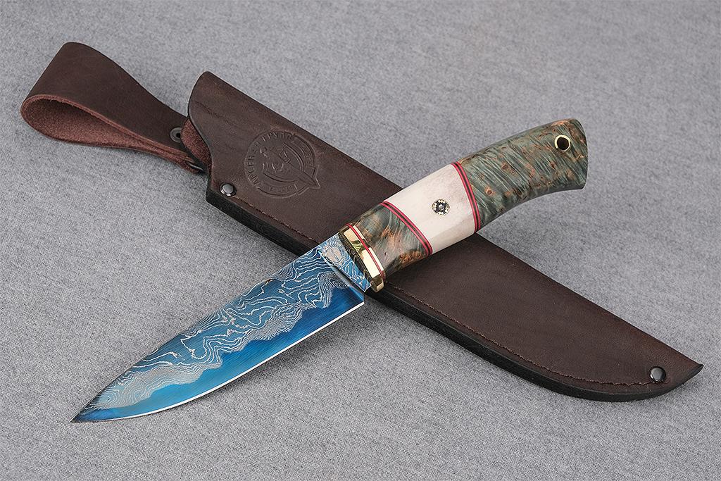 """Нож """"Рысь-2"""" (Ламинированная сталь, стабилизированная карельская береза, рог, мозаичный пин)"""