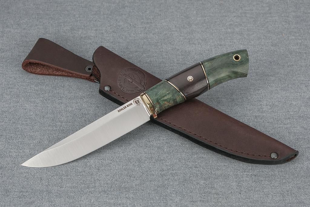 """Нож """"Финский-2"""" (М398, стабилизированная карельская береза, граб, мозаичный пин)"""