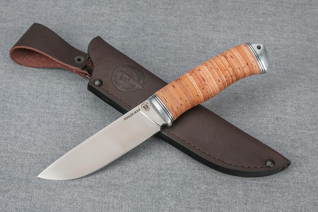 """Нож """"Лиса - 2"""" (M398, дюраль, береста)"""