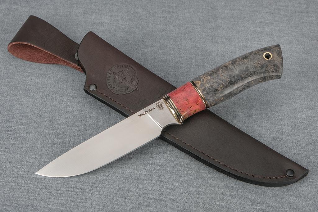"""Нож """"Рысь"""" (BOHLER M398, стабилизированная карельская береза, стабилизированный кап клена)"""