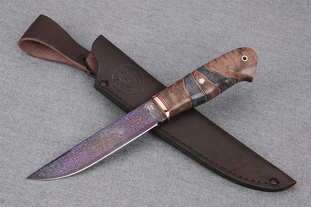 """Нож """"Ласка-2"""" (Мозаичный дамаск, стабилизированная карельская береза, мозаичный пин)"""