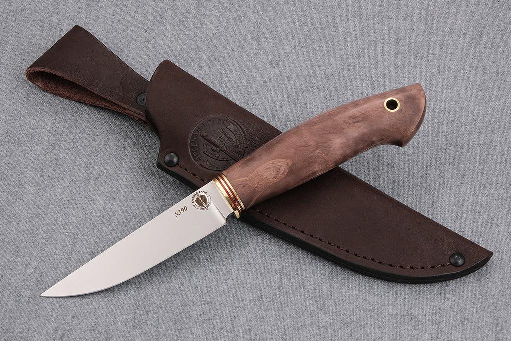 """Нож """"Грибник-2"""" (S390, стабилизированная карельская береза, обух 4 мм)"""