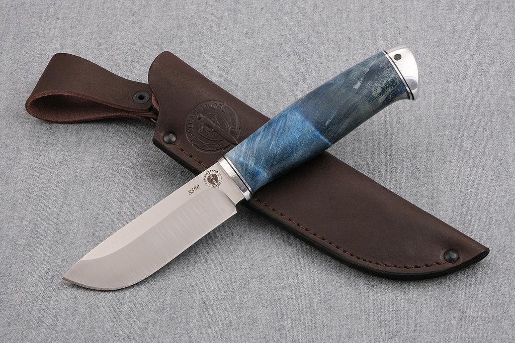 """Нож """"Бобр"""" (S390, дюраль, стабилизированная карельская береза)"""