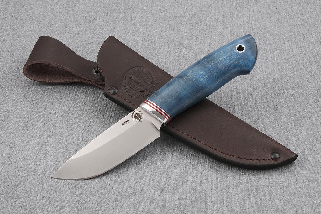 """Нож """"Бобр-2"""" (S390, стабилизированная карельская береза, дюраль)"""
