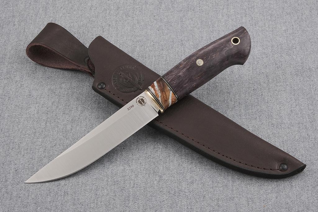 """Нож """"Финский-2"""" (S390, стабилизированная карельская береза, стабилизированный зуб мамонта, мозаичный пин)"""