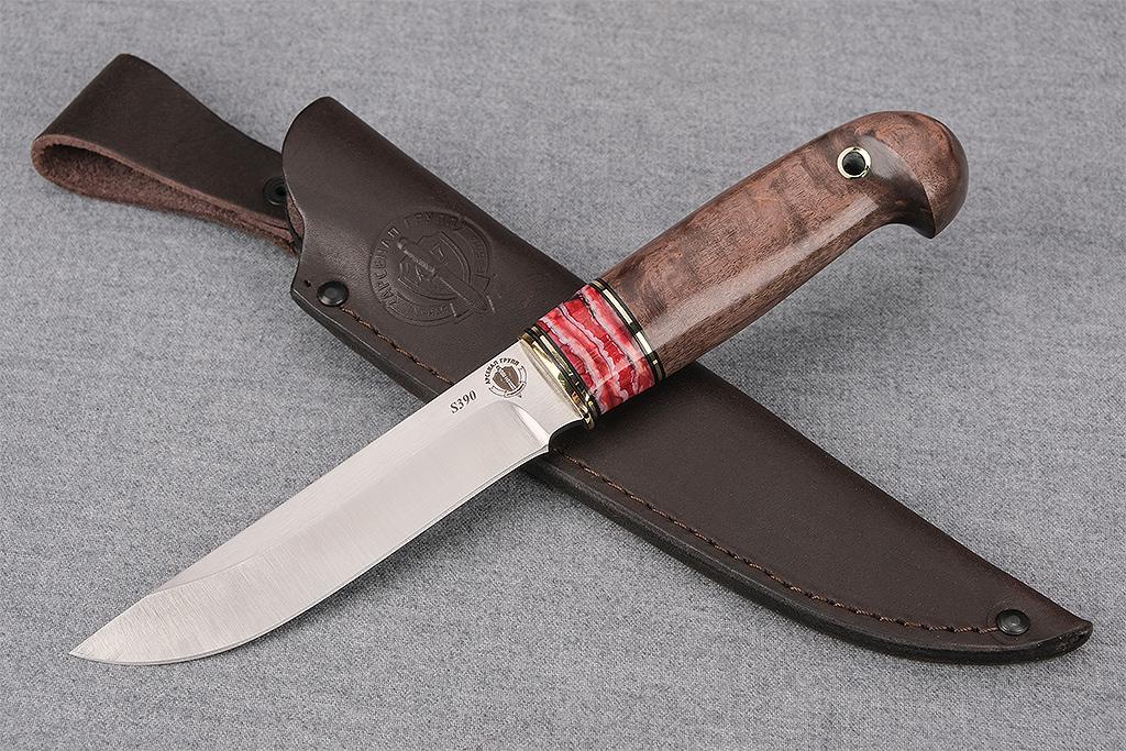 """Нож """"Финский"""" (S390, стабилизированный зуб мамонта, стабилизированная карельская береза, кобра)"""