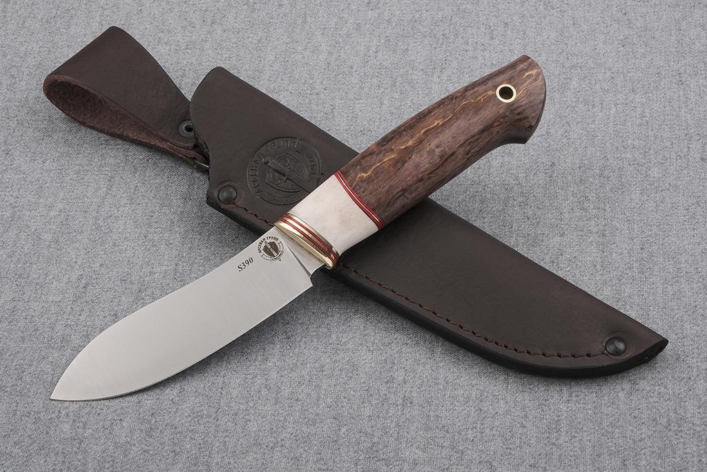"""Нож """"Лань"""" (S390, искусственный камень, стабилизированная карельская береза)"""