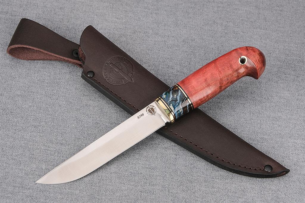 """Нож """"Ласка-2"""" (S390, стабилизированный зуб мамонта, стабилизированная карельская береза, кобра)"""