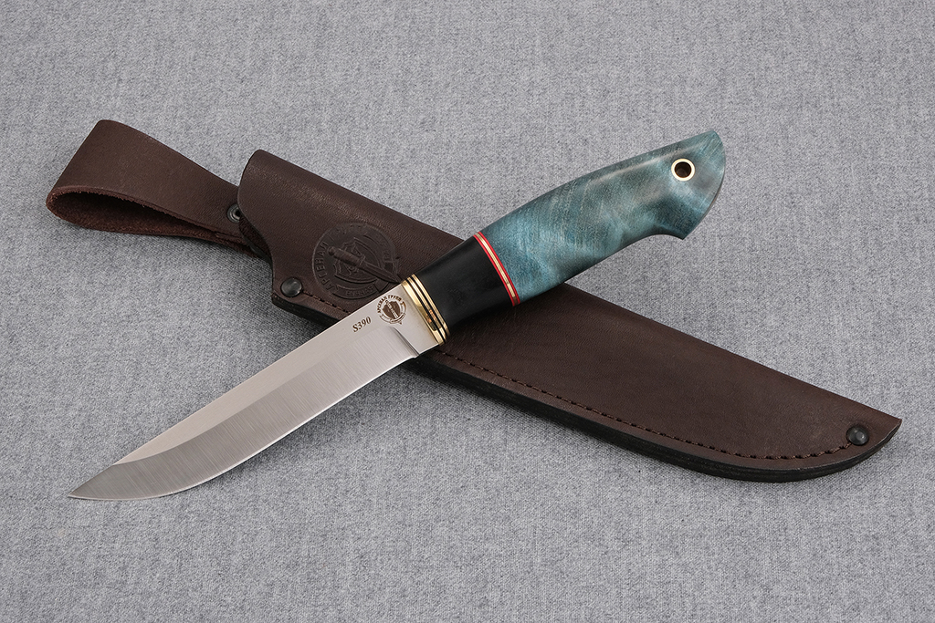 """Нож """"Ласка"""" (S390, граб, стабилизированная карельская береза)"""