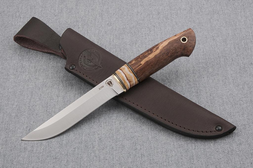 """Нож """"Ласка"""" (S390, стабилизированный зуб мамонта, стабилизированная карельская береза)"""