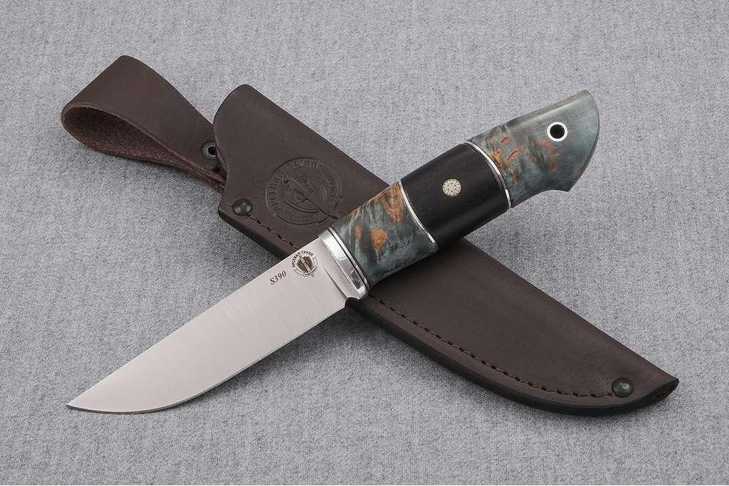"""Нож """"Лиса 2"""" (S390, дюраль, стабилизированная карельская береза, граб, пин)"""