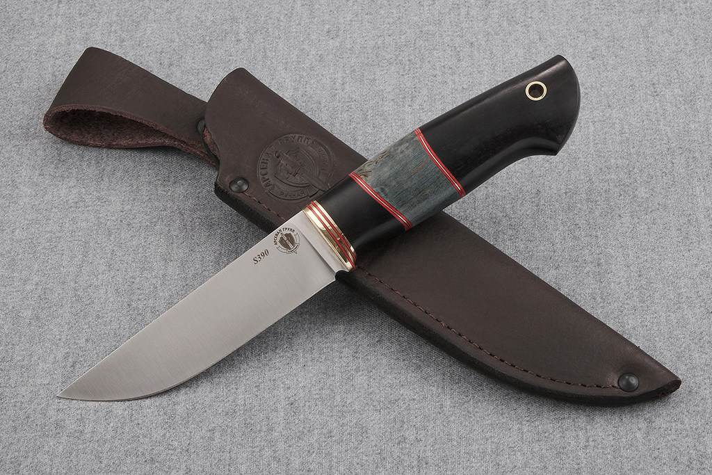 """Нож """"Лиса 2""""  (S390, граб, стабилизированная карельская береза)"""