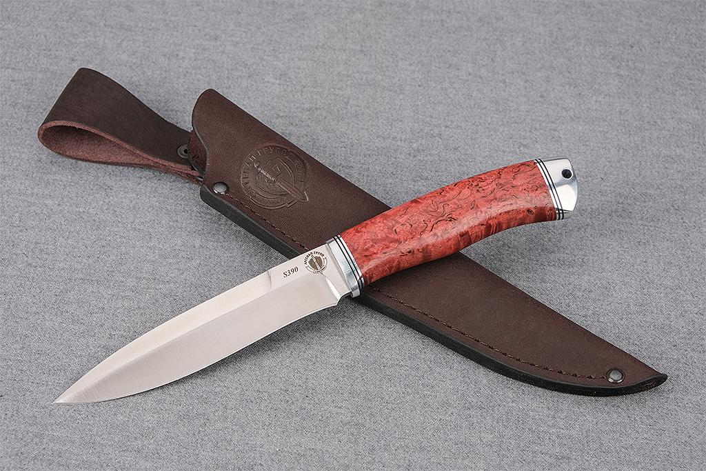 """Нож """"Перо"""" (S390, дюраль, стабилизированная карельская береза)"""