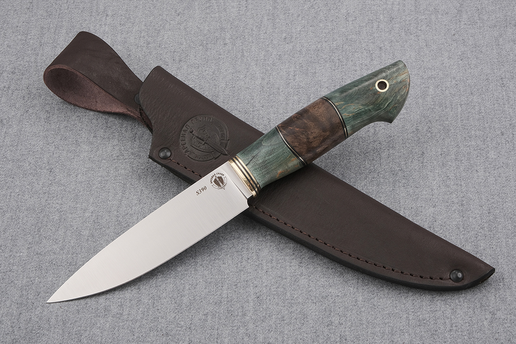 """Нож """"Рысь-2"""" (S390, стабилизированная карельская береза)"""