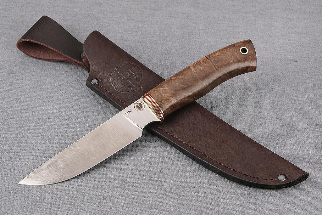 """Нож """"Рысь"""" (S390, стабилизированная карельская береза)"""