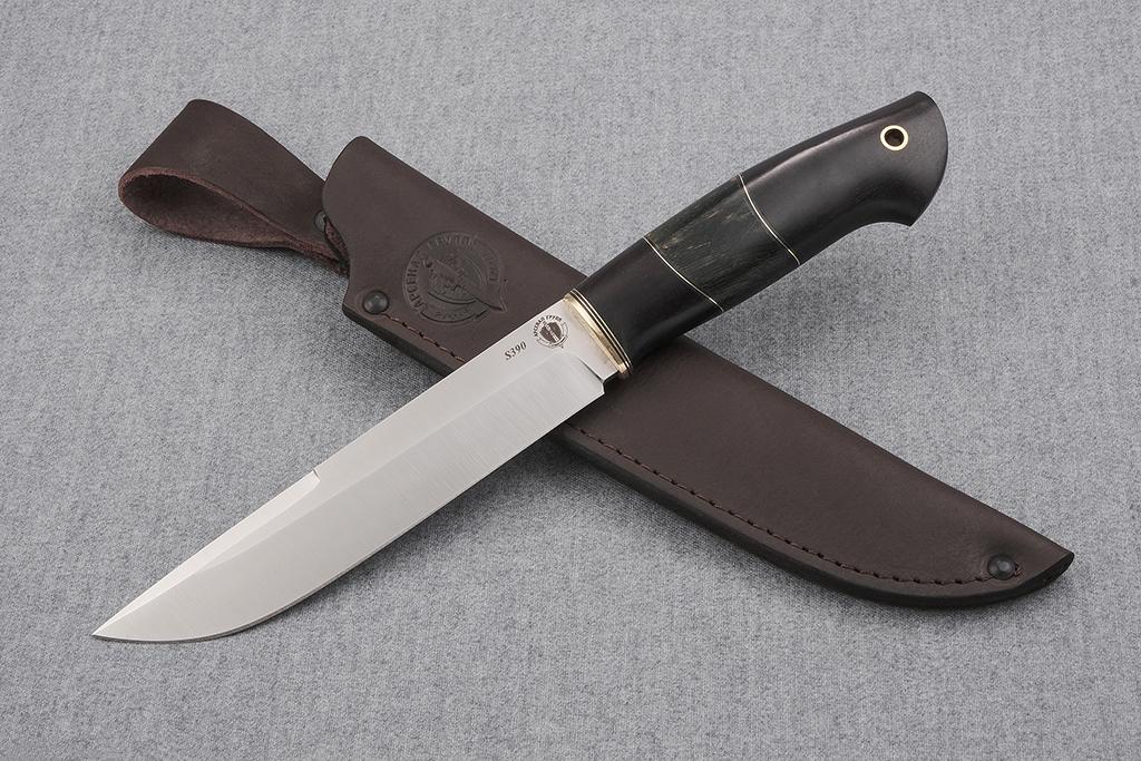 """Нож """"Турист"""" ( S390, граб, стабилизированная карельская береза)"""