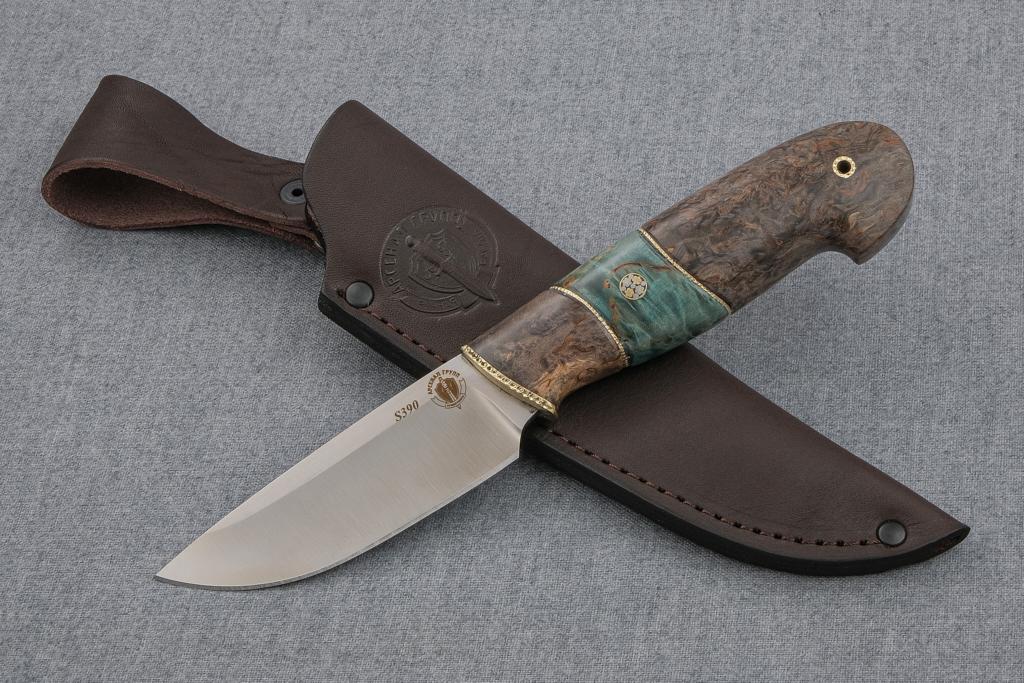 """Нож """"Бобр-2"""" (S390, стабилизированная карельская береза, мозаичный пин)"""